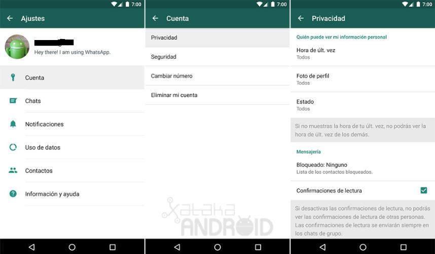 whatApp opciones de privacidad